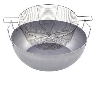 Bassine à friture en acier 32 cm avec panier en acier étamé