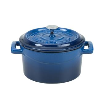 Mini cocotte 10 cm bleu en fonte
