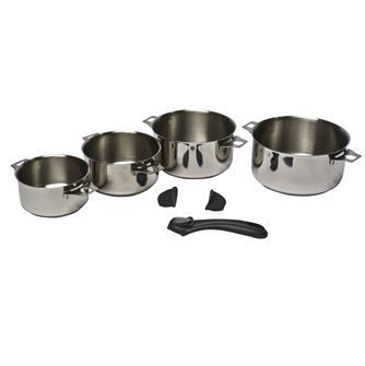 4 casseroles inox induction avec queue et poignées amovibles