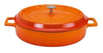 Cocotte en fonte ronde basse 28 cm orange