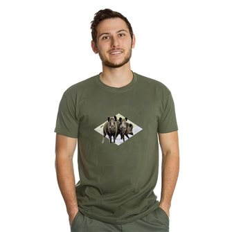 Tee shirt homme Bartavel Nature kaki sérigraphie 3 sangliers XL