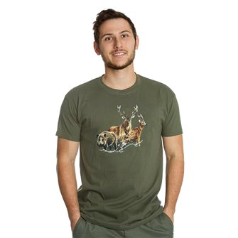 Tee shirt Bartavel Nature kaki sérigraphie 1 sanglier 1 cerf et 1 chevreuil 3XL