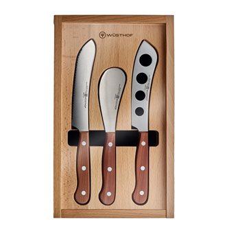Coffret de 3 couteaux fromages et charcuteries Wüsthof manches bois riveté