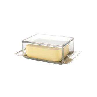 Beurrier élégant 250 g en inox et couvercle transparent