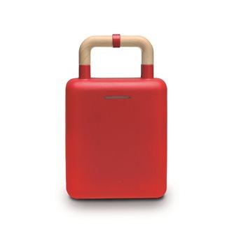 Gaufrier antiadhésif rouge 2 en 1 pour gaufres et croque-monsieur 600 W