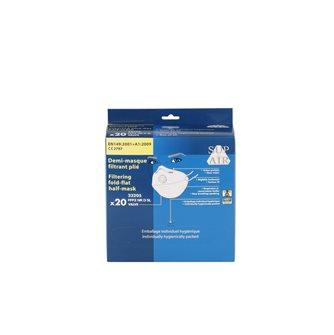 Masque de protection respiratoire FFP2 avec valve x20 pliable pince nez adaptable poussières fines