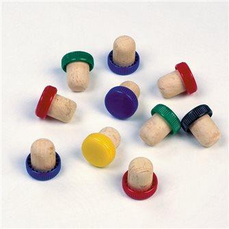 10 bouchons liège tête plastique couleur pour la conservation de bouteilles entamées de vin cognac porto