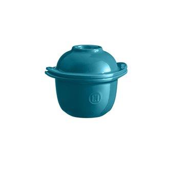 Mini-cocotte et coquetier pour la cuisson de l´œuf et le service avec accompagnement e céramique bleu Calanque Emile Henry
